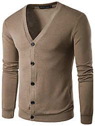 Men's Casual/Daily Regular Cardigan,Solid V Neck Long Sleeve Polyester Spring Summer Medium Micro-elastic