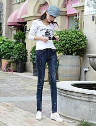 Sign new Korean small waist masticate hole collapse was thin jeans female feet pencil pants trousers tide