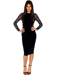 Women's Going out Sheath Dress,Solid Round Neck Midi Long Sleeve Faux Fur Spring Fall Low Rise Stretchy Thin