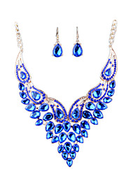 European Fashion Diamond Necklace Earrings Bride Set