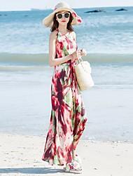 Women's Beach Swing Dress,Floral V Neck Maxi Sleeveless Silk Summer Mid Rise Micro-elastic Thin