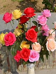 1 Branch Plastic Roses Floor Flower Artificial Flowers Random Color
