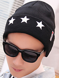 Men's Five-pointed Star Embroidery Prints Knit Stretch Crimping Wool Outdoor Protect Ear Skiing Warm Hat
