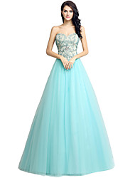 Ball Gown Sweetheart Floor Length Tulle Formal Evening Dress with Beading Embroidery