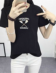 Sign summer new Korean loose embroidered short-sleeved T-shirt Slim thin cotton T-shirt lady wild