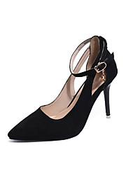 Damen High Heels Club-Schuhe Vlies Frühling Sommer Kleid Party & Festivität Club-Schuhe Schnalle Stöckelabsatz Schwarz Rot Grün 10 - 12 cm