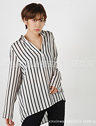 Women's Casual/Daily Formal Work Simple Blouse,Striped Shirt Collar Long Sleeve Cotton Thin
