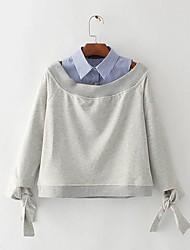 Tee-shirt Femme,Rayé Sortie Décontracté / Quotidien Sexy simple Manches Longues Epaules Dénudées Rayonne