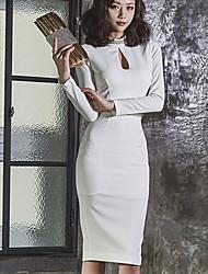 Trapèze Robe Femme Fiançailles Sexy,Couleur unie Col Ras du Cou Mi-long Manches Longues Non Disponible Eté Taille Haute Elastique Moyen