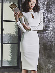 New Korean ladies OL sexy chain collar hollow stitching temperament Slim package hip dress women