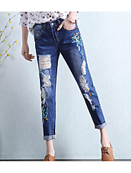 Women's Low Rise Micro-elastic Jeans Pants,Simple Slim Solid