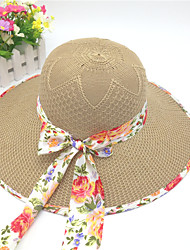 Mujer Primavera Verano Otoño Bonito Casual Poliéster Sombrero de Paja,Un Color