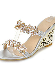 Women's Shoes Synthetic Summer Fall Slingback Sandals Wedge Heel Round Toe Rhinestone For Casual Dress Gold Silver