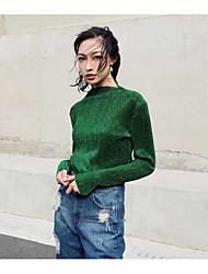 Tee-shirt Femme,Couleur Pleine Rayé Décontracté / Quotidien simple Manches Longues Asymétrique Coton Spandex Moyen Opaque