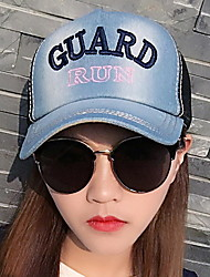 2017 Embroidery Denim Color Block Sunscreen Shading Letters Mesh Patchwork Beach Sun Hat Baseball Cap