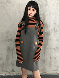 coreano costura pu magro elástica ajustável vestido de alça saia de lã sem mangas vestido de estudante verdadeiro tiro