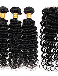 Vinsteen Wholesale 8A Grade Peruvian Deep Wave with Lace Closure Hair Weaves 100% Unprocessed Human Hair Best Quality Extensions Natural Color.