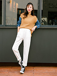 Women's Wide Leg Jeans Pants,Casual/Daily Simple Solid High Rise Zipper Cotton Inelastic All Seasons