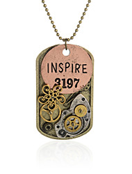 Vintage Pendant Necklace Gear Charm Steampunk Necklaces-Inspire Initial Dog Tag