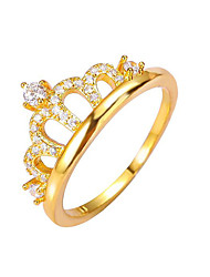 Fashion Crown Rings Gold Plated Copper Jewelry For Wedding Party Engagement Gift Valentine 1pc