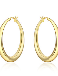 Mulheres Brincos em Argola Euramerican bijuterias Prata Chapeada Forma Redonda Jóias Para Diário