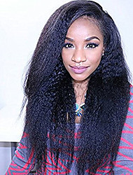 10-26 polegadas 100% humano virgem cabelo natural preto cor cheia laço reto kinky reta peruca-glueless com cabelo do bebê