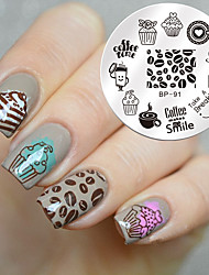 1 Pc Round 5.5cm Nail Art Stamp Template Dessert Coffee Time Design Cute Image Nail Stamping Plate