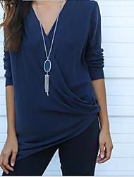 Europa aliexpress ebay cross sexy profundo v de mangas compridas t-shirt camisa blusa senhora mulheres 177 #