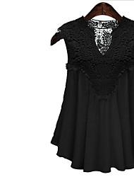 Damen Solide Einfach Lässig/Alltäglich T-shirt,V-Ausschnitt Sommer Ärmellos Baumwolle Dünn