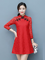 Chinese wind improved cheongsam dress 2017 new long-sleeved lace dress women's spring and autumn fashion little