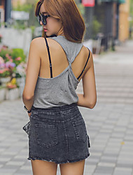 Slim round neck sleeveless vest cross interview stretch T-shirt sexy halter Qing Liangzhuang