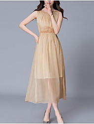 Women's Going out Simple A Line Dress,Solid Round Neck Midi Sleeveless Silk Polyester Summer Mid Rise Micro-elastic Medium