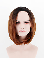 Europe and the United States new fashion wig short hair  breathable wig black brown omber  Synthetic Fiber wig