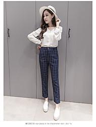 2017 real Toma nuevos pantalones a cuadros ocasionales salvajes pantalones complejo Guha lun mujer era delgada nueve pies de pantalones