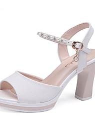Damen-High Heels-Outddor Kleid Lässig-PU-Blockabsatz-Fersenriemen-Gold Weiß Rosa