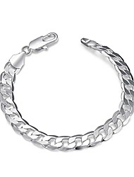 Exquisite Simple Silver Plated 8mm Wide Fashion Style Chain & Link Bracelets Jewellery for Women Accessiories