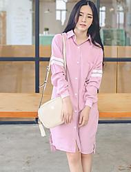 2017 primavera novo instituto coreano de vento bateu a seção de lapela de cor longo do vestido camisa solta