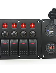 rouge iztoss conduit DC12 / 24v 4 bandes on-off panneau incurvé commutateur à bascule et coupe-circuit avec des étiquettes autocollantes