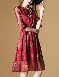 2017 summer new long section Sleeve elegant printed dress waist A-line dress -