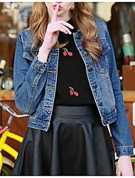 Sign seasons paragraph long-sleeved denim jacket blouses short paragraph Slim short jacket coat Korean yards tide