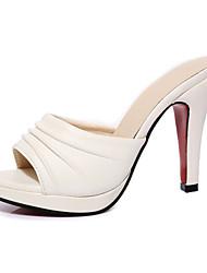 Damen-Sandalen-Outddor Kleid Lässig-Kunstleder-Stöckelabsatz-T-Riemen-Weiß Schwarz