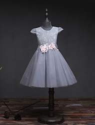 A-line Knee-length Flower Girl Dress - Lace Tulle Jewel with Bow(s) Flower(s) Lace