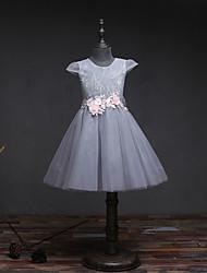 Платье длиной до колена цветок девушка платье - кружева тюль без рукавов жемчужина шеи с цветком