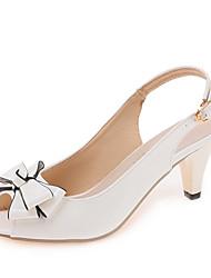 Damen Sandalen Club-Schuhe PU Frühling Sommer Kleid Party & Festivität Club-Schuhe Schleife Schnalle Blockabsatz Weiß Schwarz 5 - 7 cm