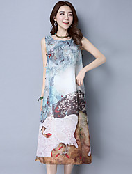 2017 spring and summer dress Chinese style vintage plate buttons sleeveless dress was thin loose long section