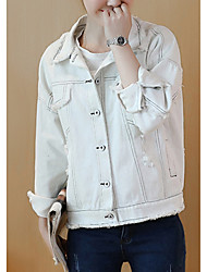 Women's Going out Casual/Daily Work Simple Street chic Sophisticated Spring Fall Denim Jacket,Solid Shirt Collar Short Sleeve Regular