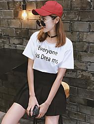Zeichen Baumwollsommer neue Frauen&# 39; s Rundhals Kurzarm T-Shirt Briefe gedruckt kurzen Absatz Studenten beladen Bodenbildung