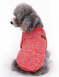 Коты Собаки Плащи Футболка Одежда для собак Зима Весна/осень Однотонный Милые Мода Спорт Красный Зеленый Синий Розовый Светло-синий