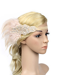 Women's Feather/Beads Elasticity Headpiece-Special Occasion/Party Flowers 1 Piece Black Headdress Hair Band Hair Accessories