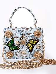 Women PU Formal Casual Event/Party Tote/Handbag/Pearl/Butterfly Embroidery/Reticule/Cultch/Box